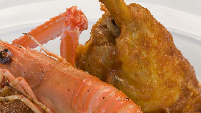 Chicken with langoustines