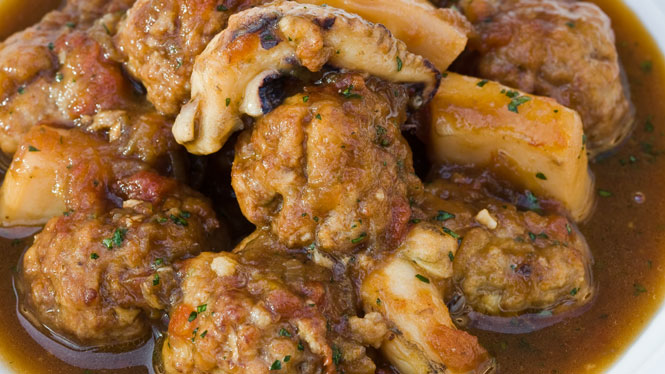 Meatball and cuttlefish stew