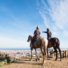 Private horse-trekking trails with views of Barcelona